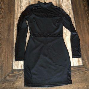 Akira Black Mesh Panel Cutout Bodycon Dress